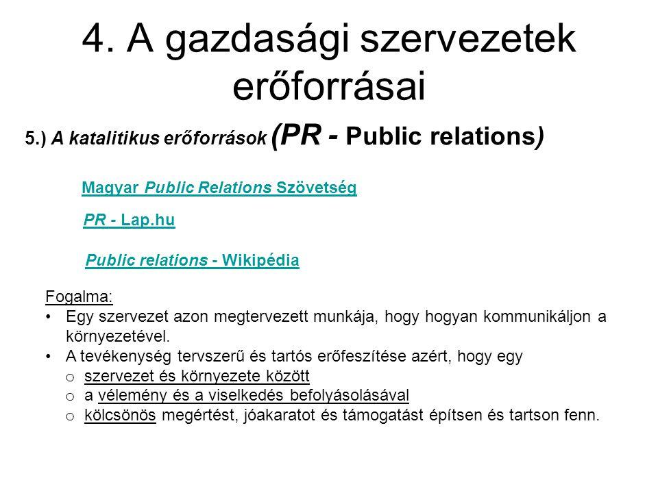 4. A gazdasági szervezetek erőforrásai 5.) A katalitikus erőforrások (PR - Public relations) Magyar Public Relations Szövetség PR - Lap.hu Public rela