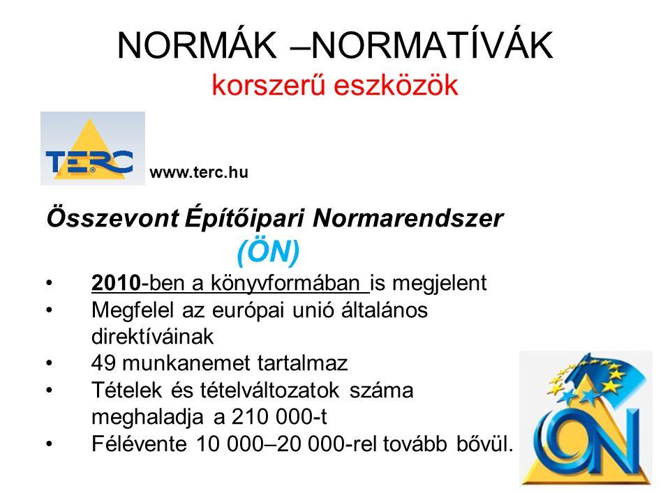NORMÁK –NORMATÍVÁK korszerű eszközök TERC V.I.P.