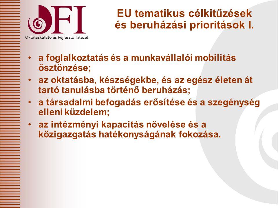 Oktatáskutató és Fejlesztő Intézet EU tematikus célkitűzések és beruházási prioritások I. a foglalkoztatás és a munkavállalói mobilitás ösztönzése; az