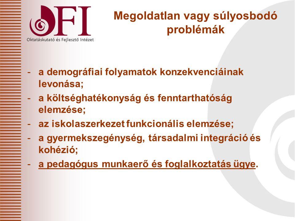 Oktatáskutató és Fejlesztő Intézet Megoldatlan vagy súlyosbodó problémák -a demográfiai folyamatok konzekvenciáinak levonása; -a költséghatékonyság és