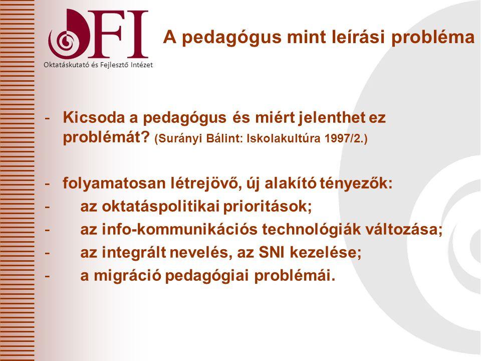 Oktatáskutató és Fejlesztő Intézet A pedagógus mint leírási probléma -Kicsoda a pedagógus és miért jelenthet ez problémát? (Surányi Bálint: Iskolakult