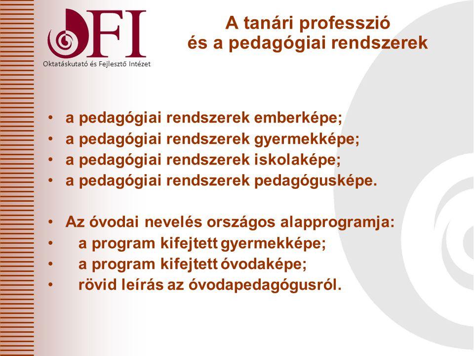 Oktatáskutató és Fejlesztő Intézet A tanári professzió leírási keretei a tanári professzió az értékpreferenciák alapján; a tanári professzió a személyiségjegyek alapján; a tanári professzió a pedagógusszerepek alapján; a tanári professzió a tevékenységek alapján; kísérletek a tanári professzió komplex leírására.