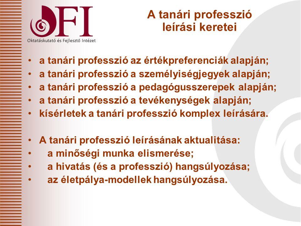 Oktatáskutató és Fejlesztő Intézet A tanári professzió leírási keretei a tanári professzió az értékpreferenciák alapján; a tanári professzió a személy