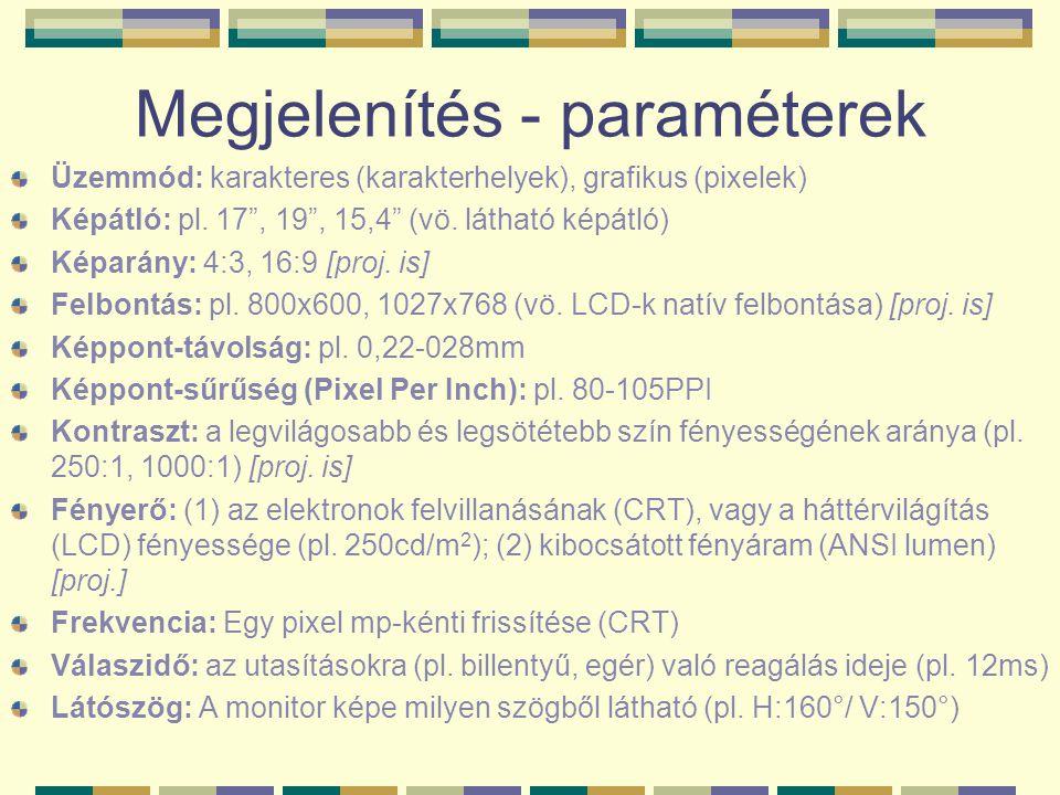 """Megjelenítés - paraméterek Üzemmód: karakteres (karakterhelyek), grafikus (pixelek) Képátló: pl. 17"""", 19"""", 15,4"""" (vö. látható képátló) Képarány: 4:3,"""
