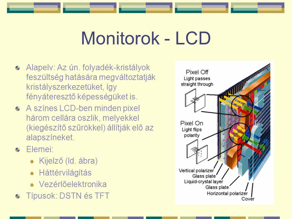 Monitorok - LCD Alapelv: Az ún. folyadék-kristályok feszültség hatására megváltoztatják kristályszerkezetüket, így fényáteresztő képességüket is. A sz
