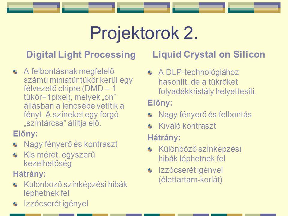 """Projektorok 2. A felbontásnak megfelelő számú miniatűr tükör kerül egy félvezető chipre (DMD – 1 tükör=1pixel), melyek """"on"""" állásban a lencsébe vetíti"""