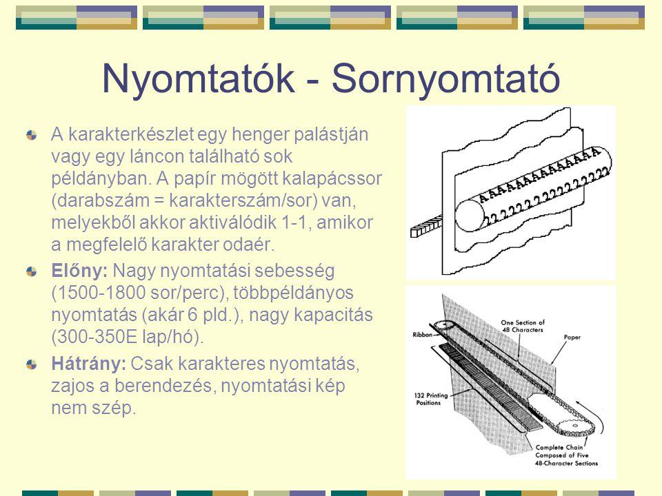 Nyomtatók - Sornyomtató A karakterkészlet egy henger palástján vagy egy láncon található sok példányban. A papír mögött kalapácssor (darabszám = karak