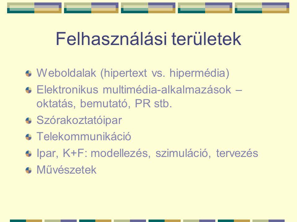 Felhasználási területek Weboldalak (hipertext vs. hipermédia) Elektronikus multimédia-alkalmazások – oktatás, bemutató, PR stb. Szórakoztatóipar Telek