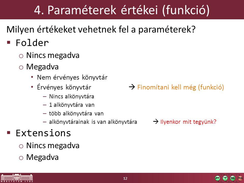 4. Paraméterek értékei (funkció) Milyen értékeket vehetnek fel a paraméterek.