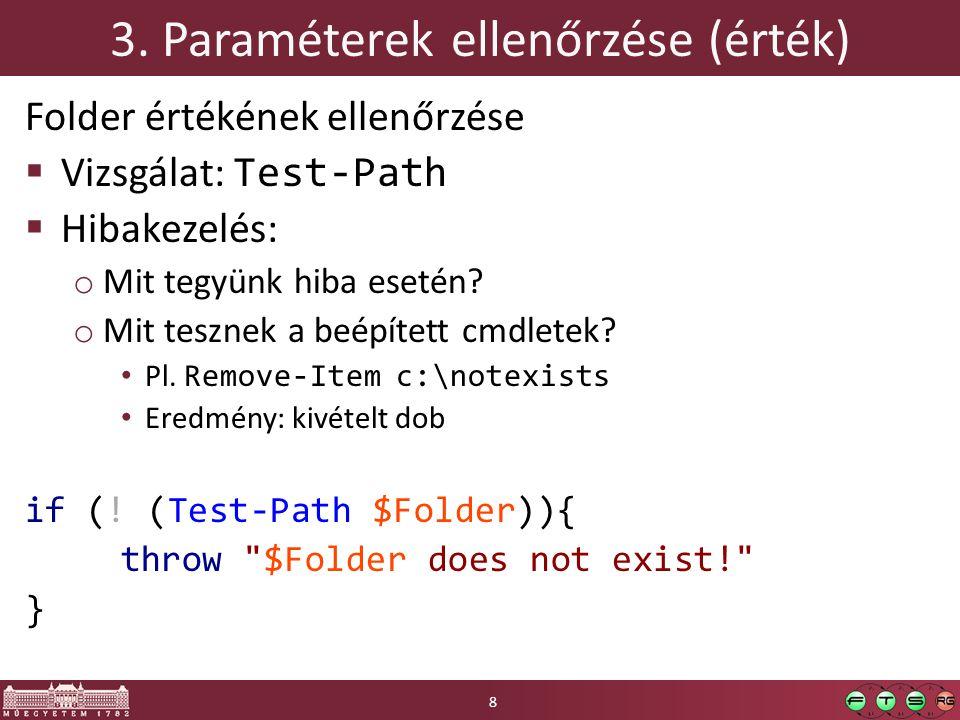 HF ellenőrző lista (4)  SZ25 Angol változónevek: OK  SZ26 Tagoljuk a kódot: OK o Főbb részek üres sorral elkülönítve, if esetén behúzás  SZ27 Adott környezet kihasználása o Rekurzív bejárást nem implementáltuk újra: OK  SZ28 Beszédes változónevek o $maximalCount, $subfolders és nem $m, $s: OK 29