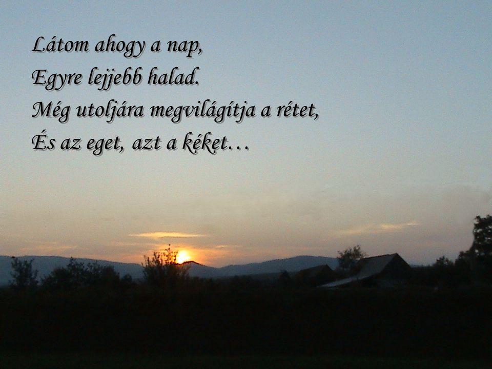 Látom ahogy a nap, Egyre lejjebb halad.