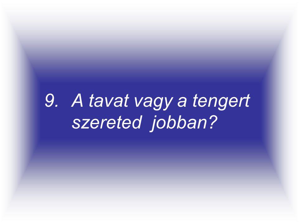 9.A tavat vagy a tengert szereted jobban?