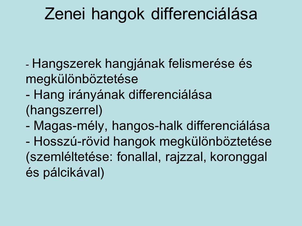 Zenei hangok differenciálása - Hangszerek hangjának felismerése és megkülönböztetése - Hang irányának differenciálása (hangszerrel) - Magas-mély, hang