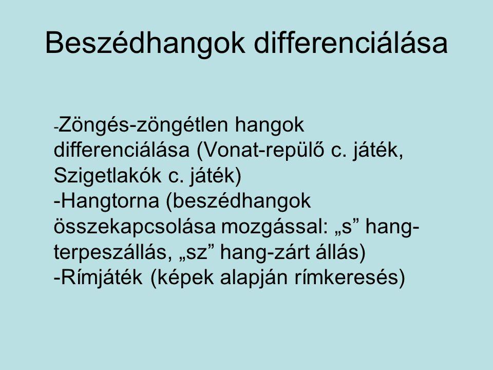 Beszédhangok differenciálása - Zöngés-zöngétlen hangok differenciálása (Vonat-repülő c. játék, Szigetlakók c. játék) -Hangtorna (beszédhangok összekap