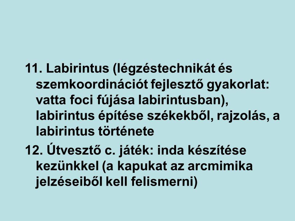 11. Labirintus (légzéstechnikát és szemkoordinációt fejlesztő gyakorlat: vatta foci fújása labirintusban), labirintus építése székekből, rajzolás, a l