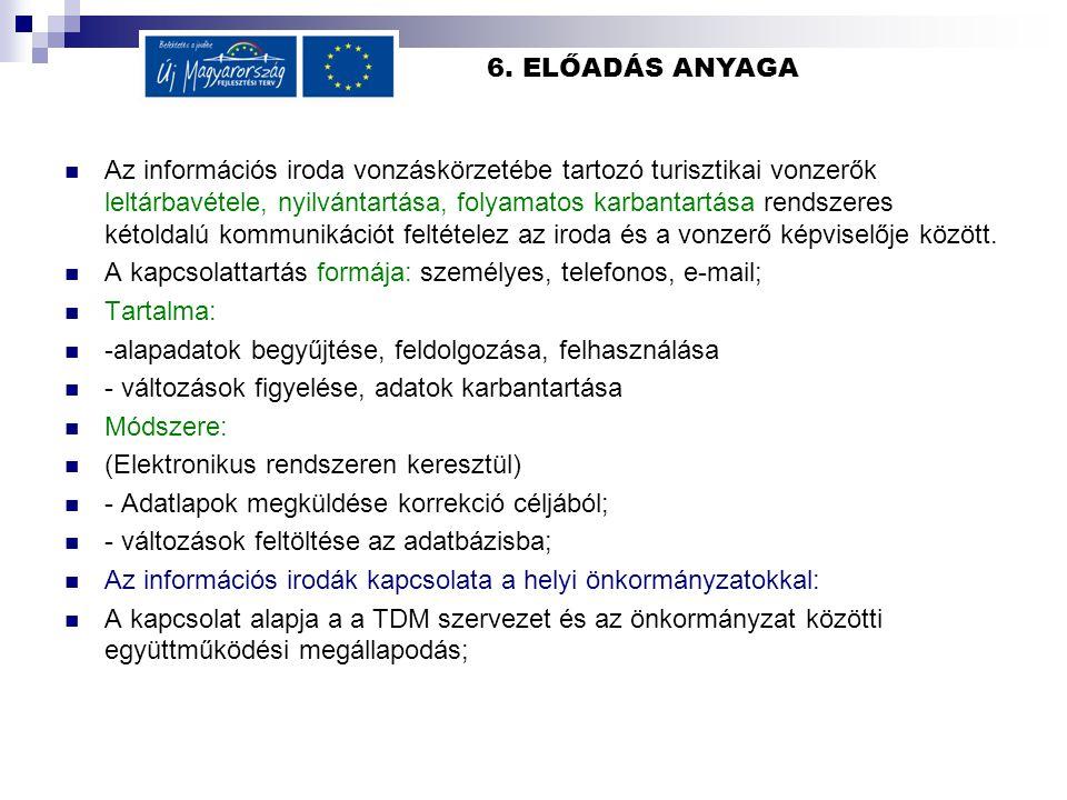 6. ELŐADÁS ANYAGA Az információs iroda vonzáskörzetébe tartozó turisztikai vonzerők leltárbavétele, nyilvántartása, folyamatos karbantartása rendszere