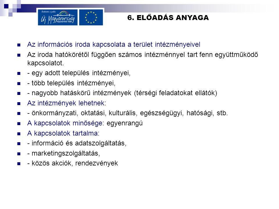 6. ELŐADÁS ANYAGA Az információs iroda kapcsolata a terület intézményeivel Az iroda hatókörétől függően számos intézménnyel tart fenn együttműködő kap