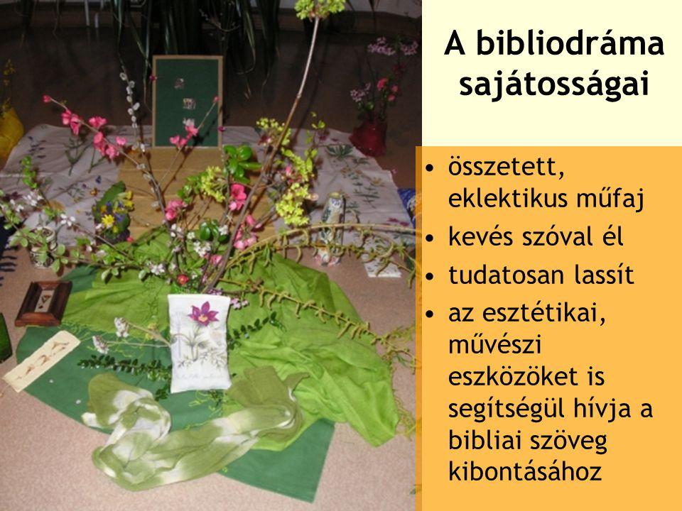 A bibliodráma sajátosságai összetett, eklektikus műfaj kevés szóval él tudatosan lassít az esztétikai, művészi eszközöket is segítségül hívja a bibliai szöveg kibontásához