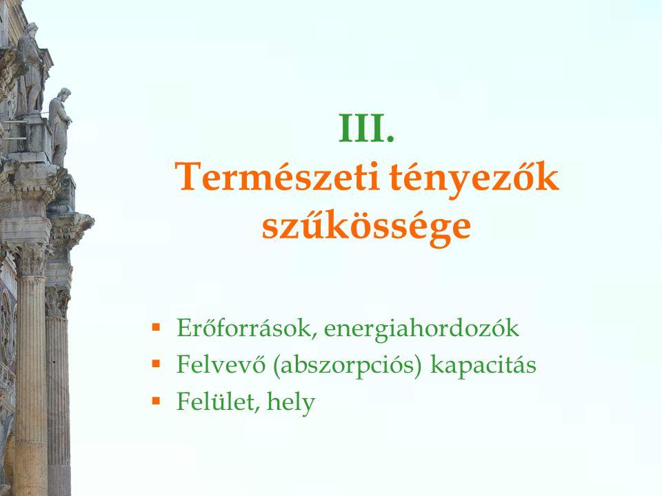 III. Természeti tényezők szűkössége  Erőforrások, energiahordozók  Felvevő (abszorpciós) kapacitás  Felület, hely