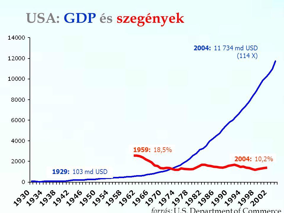 USA: GDP és szegények 2004: 11 734 md USD (114 X) 1929: 103 md USD forrás: U.S. Department of Commerce 1959: 18,5% 2004: 10,2%