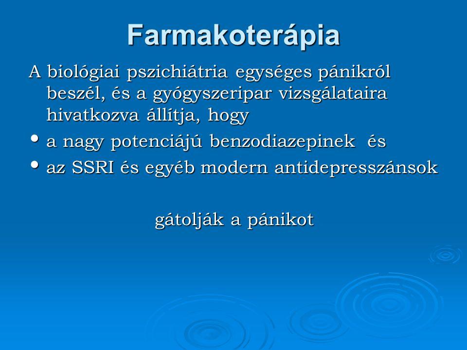 Farmakoterápia A biológiai pszichiátria egységes pánikról beszél, és a gyógyszeripar vizsgálataira hivatkozva állítja, hogy a nagy potenciájú benzodia