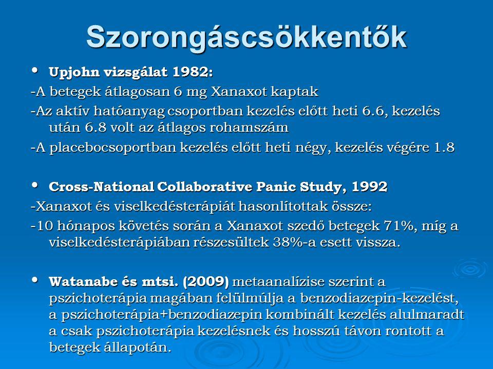 Szorongáscsökkentők Upjohn vizsgálat 1982: Upjohn vizsgálat 1982: -A betegek átlagosan 6 mg Xanaxot kaptak -Az aktív hatóanyag csoportban kezelés előt