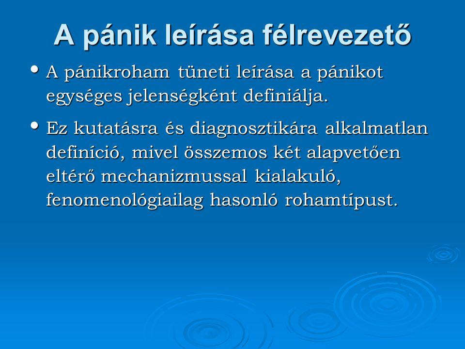 A pánik leírása félrevezető A pánikroham tüneti leírása a pánikot egységes jelenségként definiálja. A pánikroham tüneti leírása a pánikot egységes jel