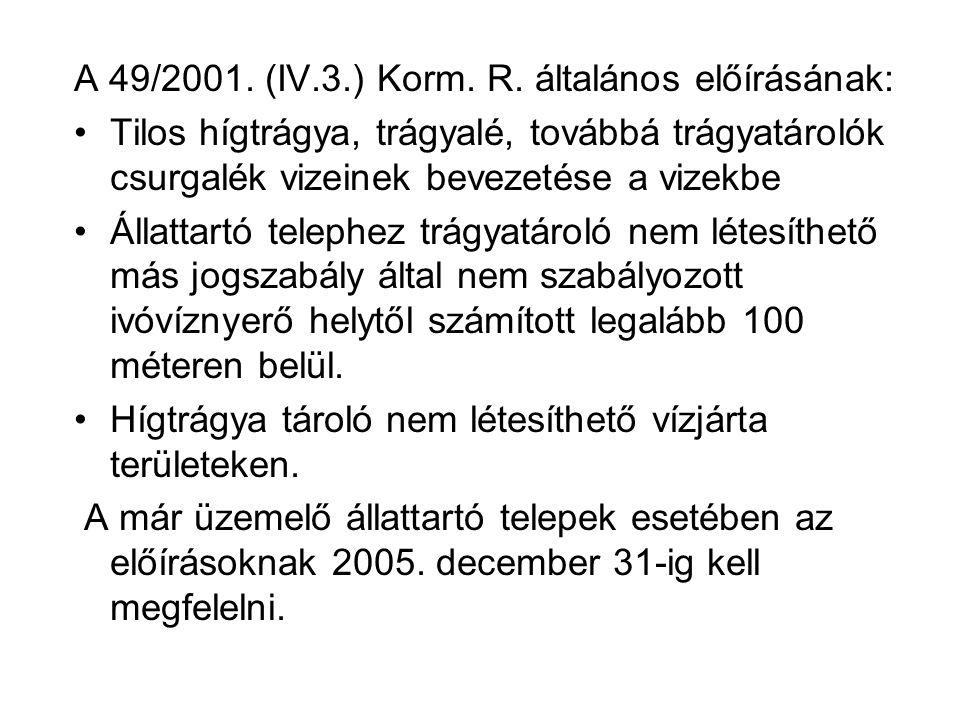 A 49/2001. (IV.3.) Korm. R. általános előírásának: Tilos hígtrágya, trágyalé, továbbá trágyatárolók csurgalék vizeinek bevezetése a vizekbe Állattartó