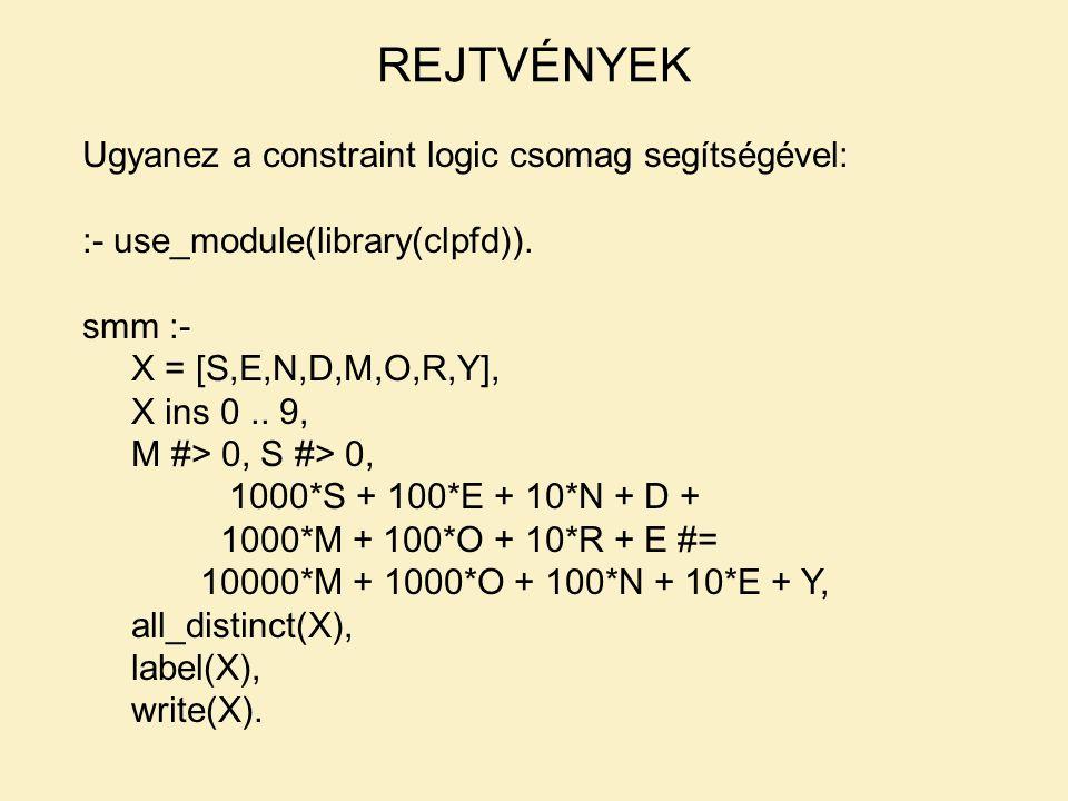 Ugyanez a constraint logic csomag segítségével: :- use_module(library(clpfd)). smm :- X = [S,E,N,D,M,O,R,Y], X ins 0.. 9, M #> 0, S #> 0, 1000*S + 100