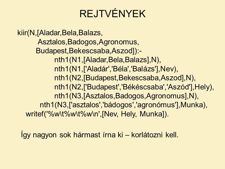 kiir(N,[Aladar,Bela,Balazs, Asztalos,Badogos,Agronomus, Budapest,Bekescsaba,Aszod]):- nth1(N1,[Aladar,Bela,Balazs],N), nth1(N1,['Aladár','Béla','Baláz