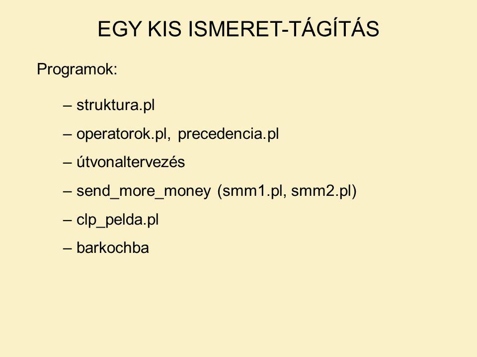 Programok: EGY KIS ISMERET-TÁGÍTÁS – struktura.pl – operatorok.pl, precedencia.pl – útvonaltervezés – send_more_money (smm1.pl, smm2.pl) – clp_pelda.pl – barkochba