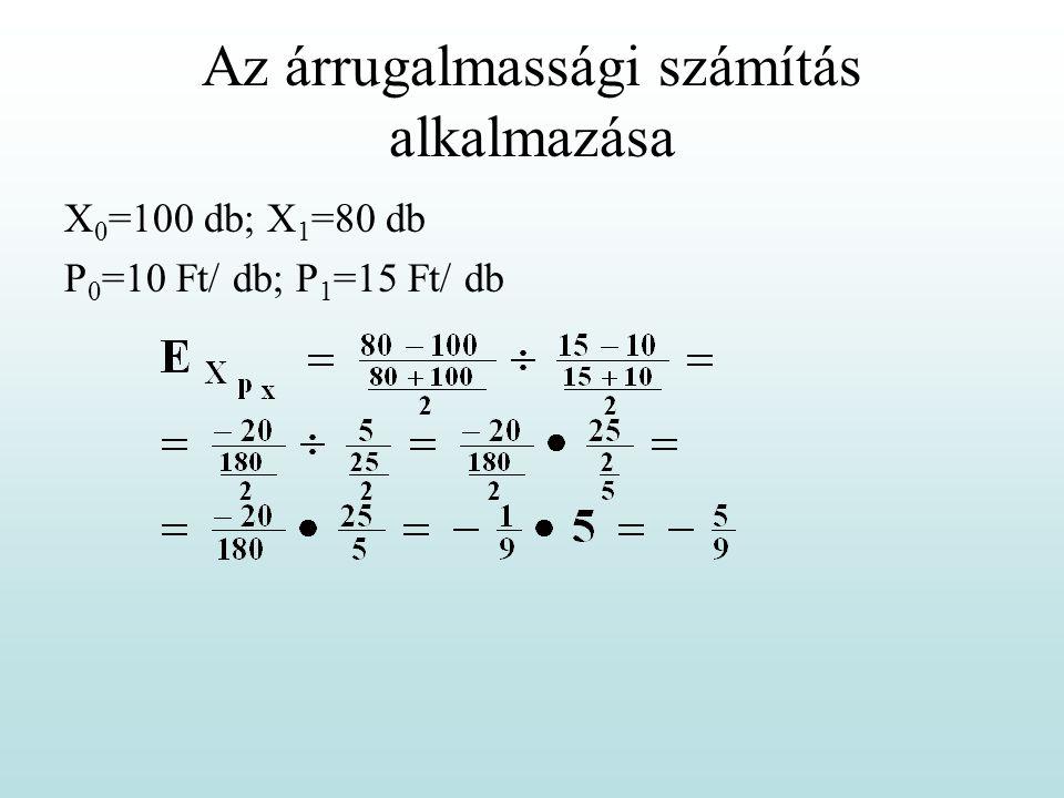 Az árrugalmassági számítás alkalmazása X 0 =100 db; X 1 =80 db P 0 =10 Ft/ db; P 1 =15 Ft/ db
