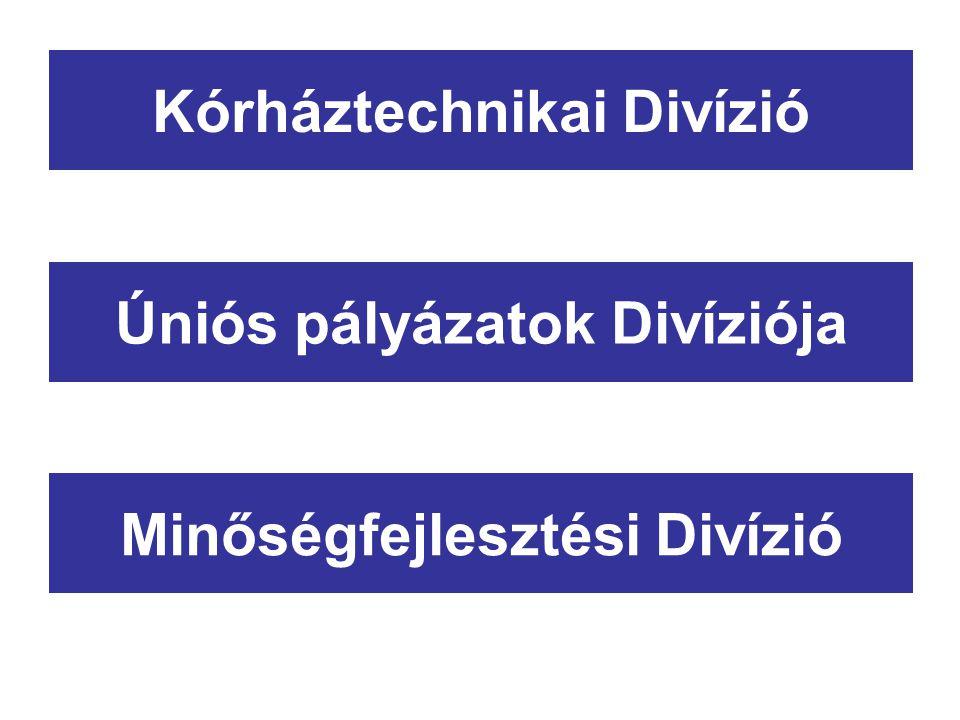 Úniós pályázatok Divíziója Minőségfejlesztési Divízió Kórháztechnikai Divízió