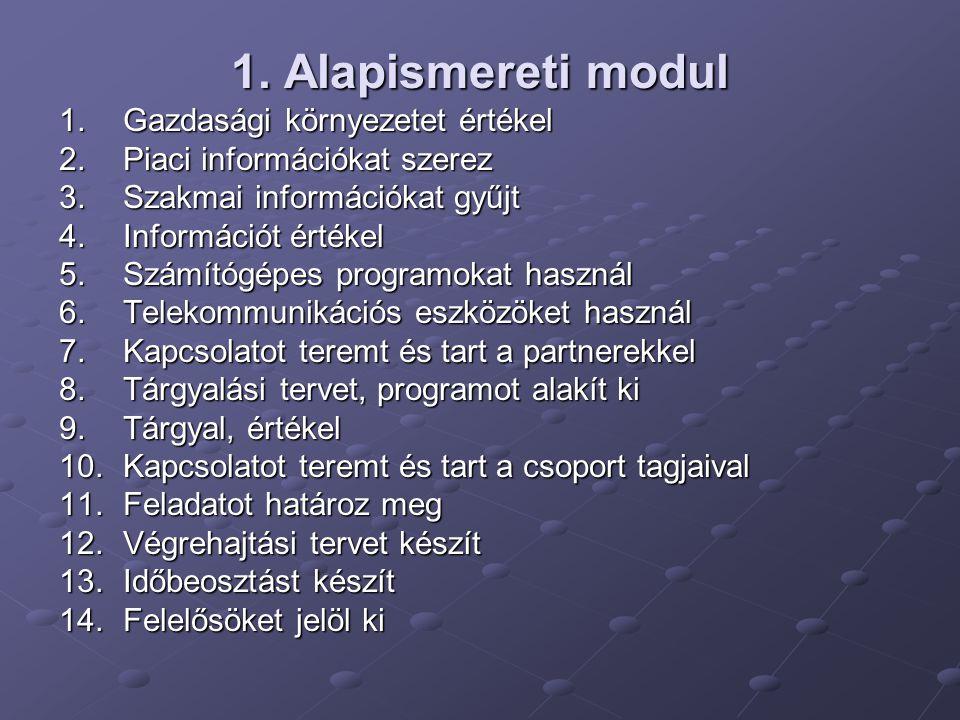 1. Alapismereti modul 1.Gazdasági környezetet értékel 2.Piaci információkat szerez 3.Szakmai információkat gyűjt 4.Információt értékel 5.Számítógépes