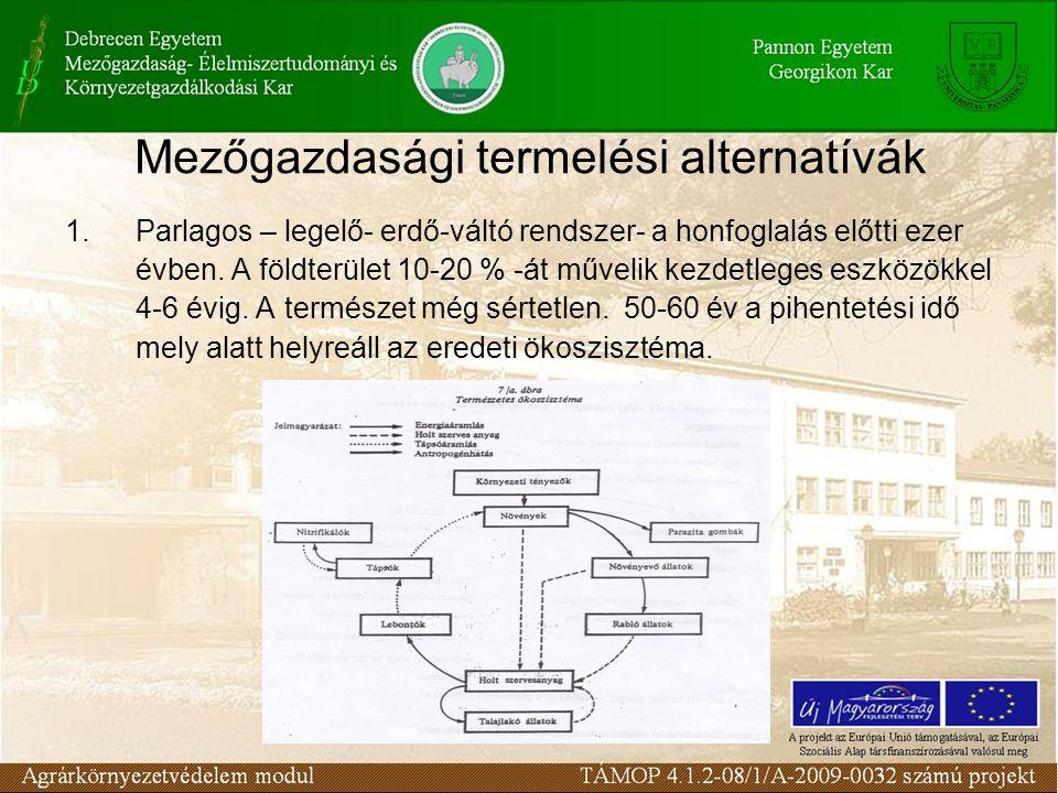 Mezőgazdasági termelési alternatívák 1.Parlagos – legelő- erdő-váltó rendszer- a honfoglalás előtti ezer évben.