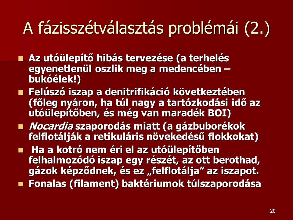 20 A fázisszétválasztás problémái (2.) Az utóülepítő hibás tervezése (a terhelés egyenetlenül oszlik meg a medencében – bukóélek!) Az utóülepítő hibás