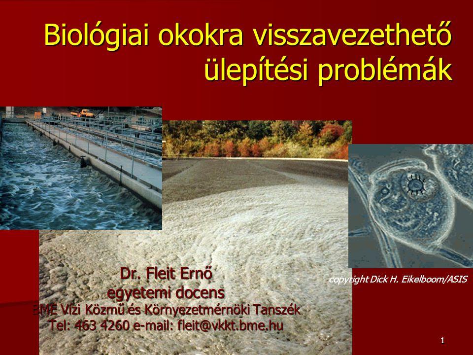1 Biológiai okokra visszavezethető ülepítési problémák Dr. Fleit Ernő egyetemi docens BME Vízi Közmű és Környezetmérnöki Tanszék Tel: 463 4260 e-mail: