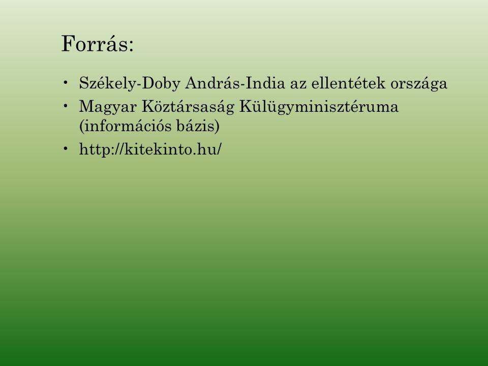 Forrás: Székely-Doby András-India az ellentétek országa Magyar Köztársaság Külügyminisztéruma (információs bázis) http://kitekinto.hu/