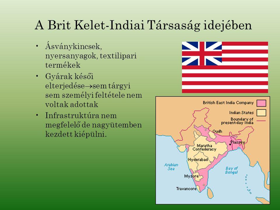 A Brit Kelet-Indiai Társaság idejében Ásványkincsek, nyersanyagok, textilipari termékek Gyárak késői elterjedése  sem tárgyi sem személyi feltétele n