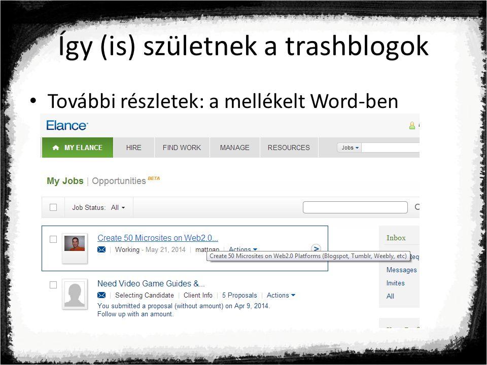 Így (is) születnek a trashblogok További részletek: a mellékelt Word-ben