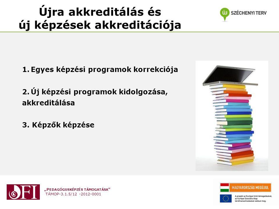 """""""P EDAGÓGUSKÉPZÉS TÁMOGATÁSA TÁMOP-3.1.5/12 -2012-0001 Újra akkreditálás és új képzések akkreditációja 1.Egyes képzési programok korrekciója 2.Új képzési programok kidolgozása, akkreditálása 3."""