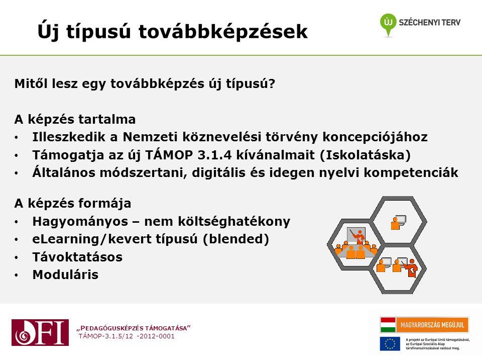 """""""P EDAGÓGUSKÉPZÉS TÁMOGATÁSA TÁMOP-3.1.5/12 -2012-0001 Szükségletek 1.Fejlesztési szükségletek 2.Pedagógusok szükségleteinek megfelelő képzési kínálat 3.A szaktanácsadói szükségletfelmérés során azonosított szükségletekre választ adó továbbképzések fejlesztése Célcsoportok: 1.Az eddig közoktatás-fejlesztésben nem érintett intézmények pedagógusai."""