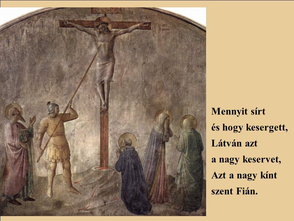 Ó mi nagy volt ama drága Szűzanya szomorúsága, Egyszülött szent magzatán.