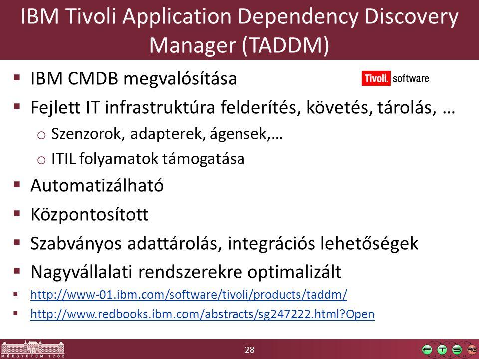 28 IBM Tivoli Application Dependency Discovery Manager (TADDM)  IBM CMDB megvalósítása  Fejlett IT infrastruktúra felderítés, követés, tárolás, … o Szenzorok, adapterek, ágensek,… o ITIL folyamatok támogatása  Automatizálható  Központosított  Szabványos adattárolás, integrációs lehetőségek  Nagyvállalati rendszerekre optimalizált  http://www-01.ibm.com/software/tivoli/products/taddm/ http://www-01.ibm.com/software/tivoli/products/taddm/  http://www.redbooks.ibm.com/abstracts/sg247222.html?Open http://www.redbooks.ibm.com/abstracts/sg247222.html?Open