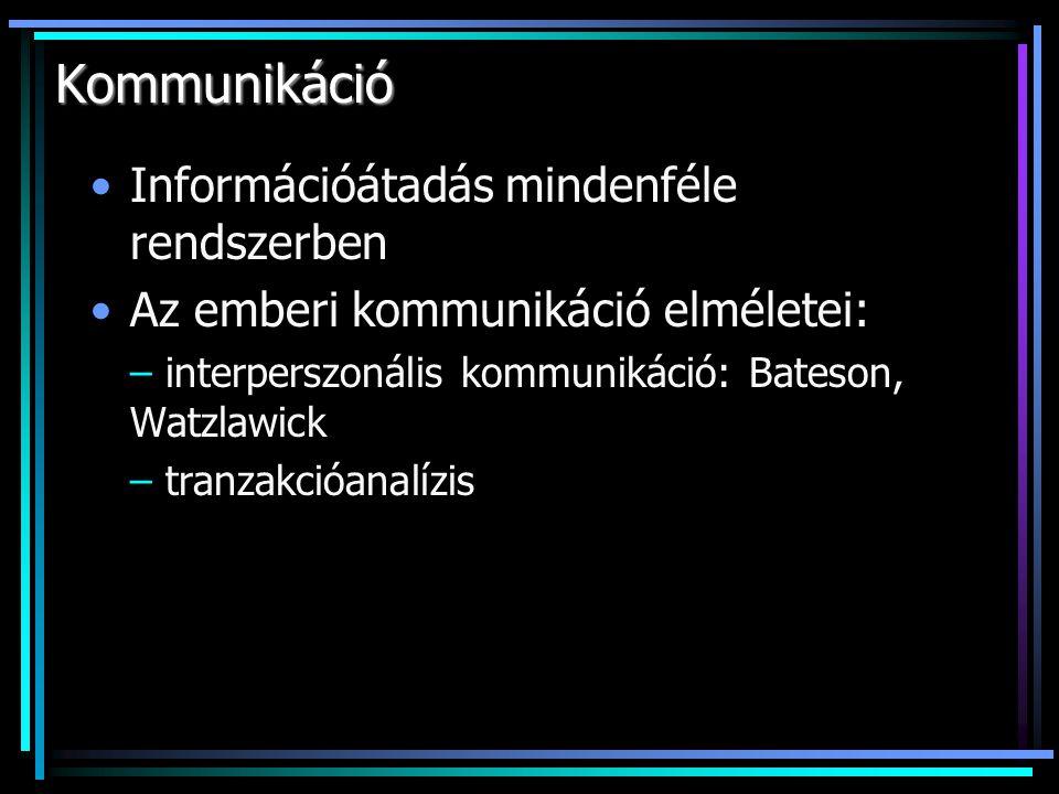 Kommunikáció Információátadás mindenféle rendszerben Az emberi kommunikáció elméletei: – interperszonális kommunikáció: Bateson, Watzlawick – tranzakc