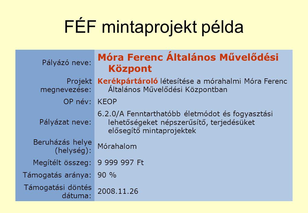 FÉF mintaprojekt példa Pályázó neve: Móra Ferenc Általános Művelődési Központ Projekt megnevezése: Kerékpártároló létesítése a mórahalmi Móra Ferenc Általános Művelődési Központban OP név:KEOP Pályázat neve: 6.2.0/A Fenntarthatóbb életmódot és fogyasztási lehetőségeket népszerűsítő, terjedésüket elősegítő mintaprojektek Beruházás helye (helység): Mórahalom Megítélt összeg:9 999 997 Ft Támogatás aránya:90 % Támogatási döntés dátuma: 2008.11.26