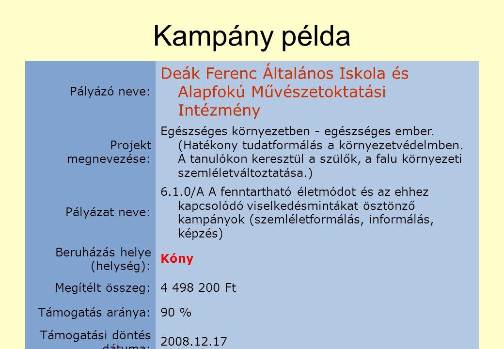 Kampány példa Pályázó neve: Deák Ferenc Általános Iskola és Alapfokú Művészetoktatási Intézmény Projekt megnevezése: Egészséges környezetben - egészséges ember.