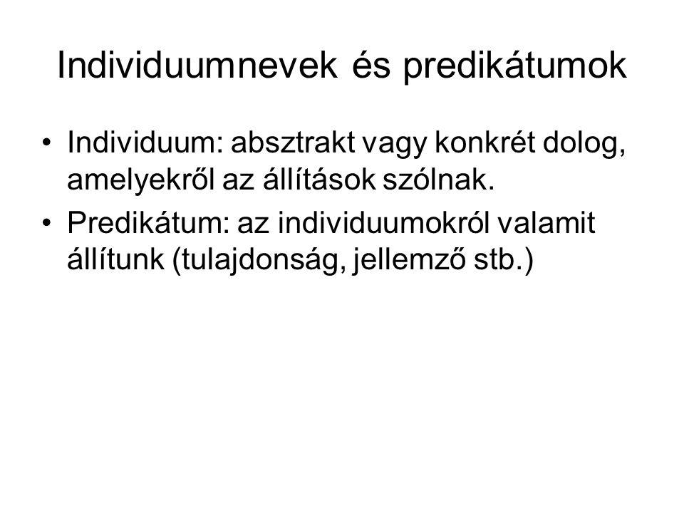 Individuumnevek és predikátumok Individuum: absztrakt vagy konkrét dolog, amelyekről az állítások szólnak.