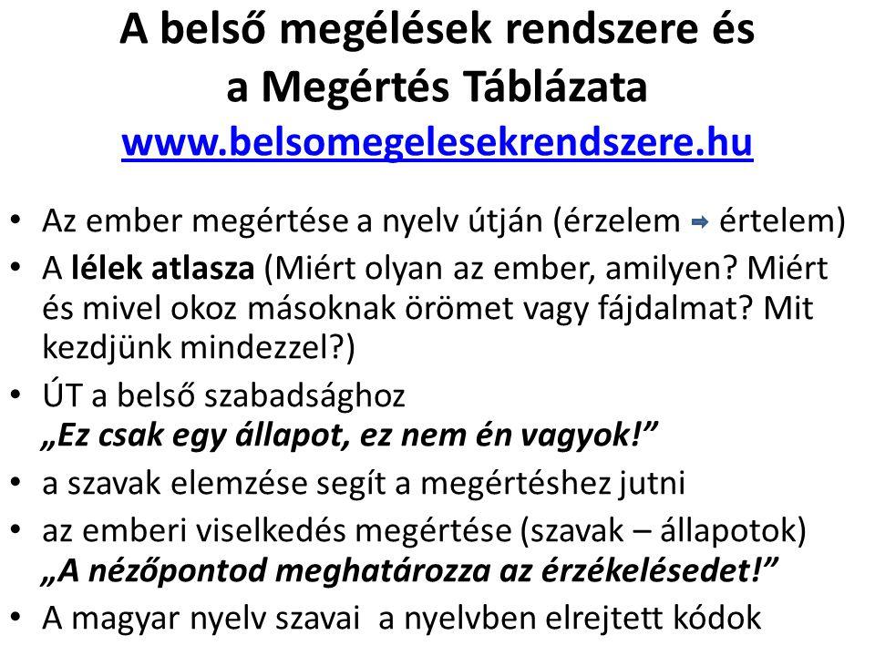 A belső megélések rendszere és a Megértés Táblázata www.belsomegelesekrendszere.hu www.belsomegelesekrendszere.hu Az ember megértése a nyelv útján (ér
