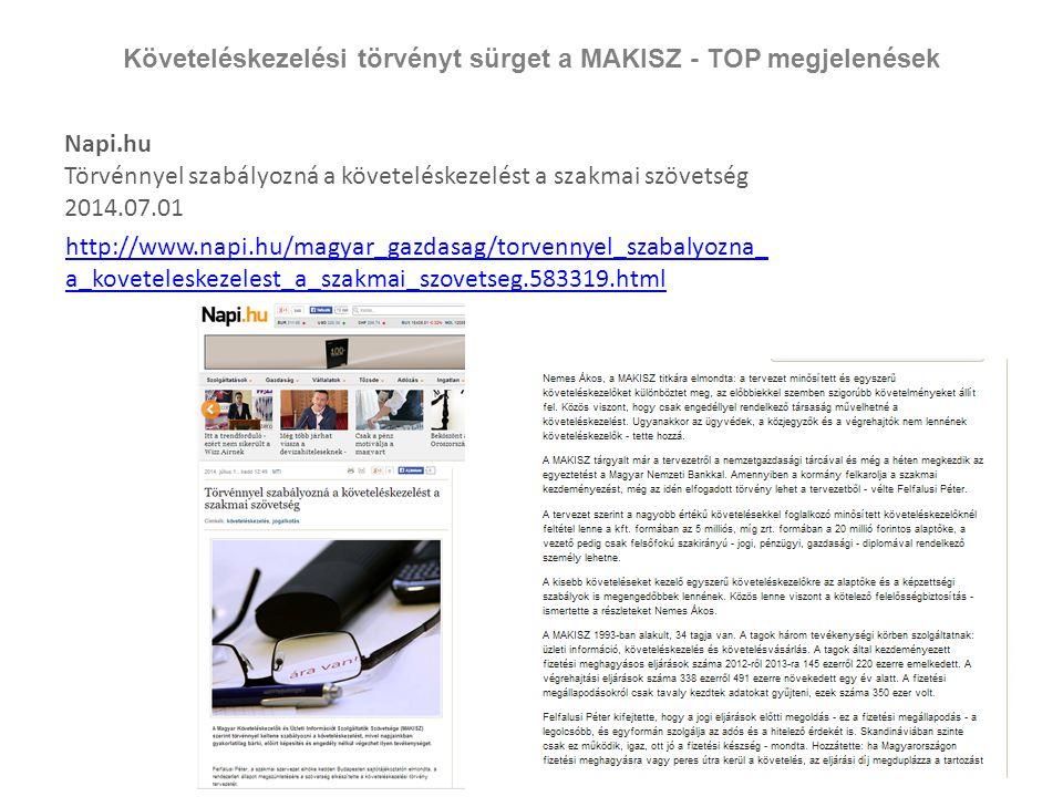 Követeléskezelési törvényt sürget a MAKISZ - TOP megjelenések Napi.hu Törvénnyel szabályozná a követeléskezelést a szakmai szövetség 2014.07.01 http:/